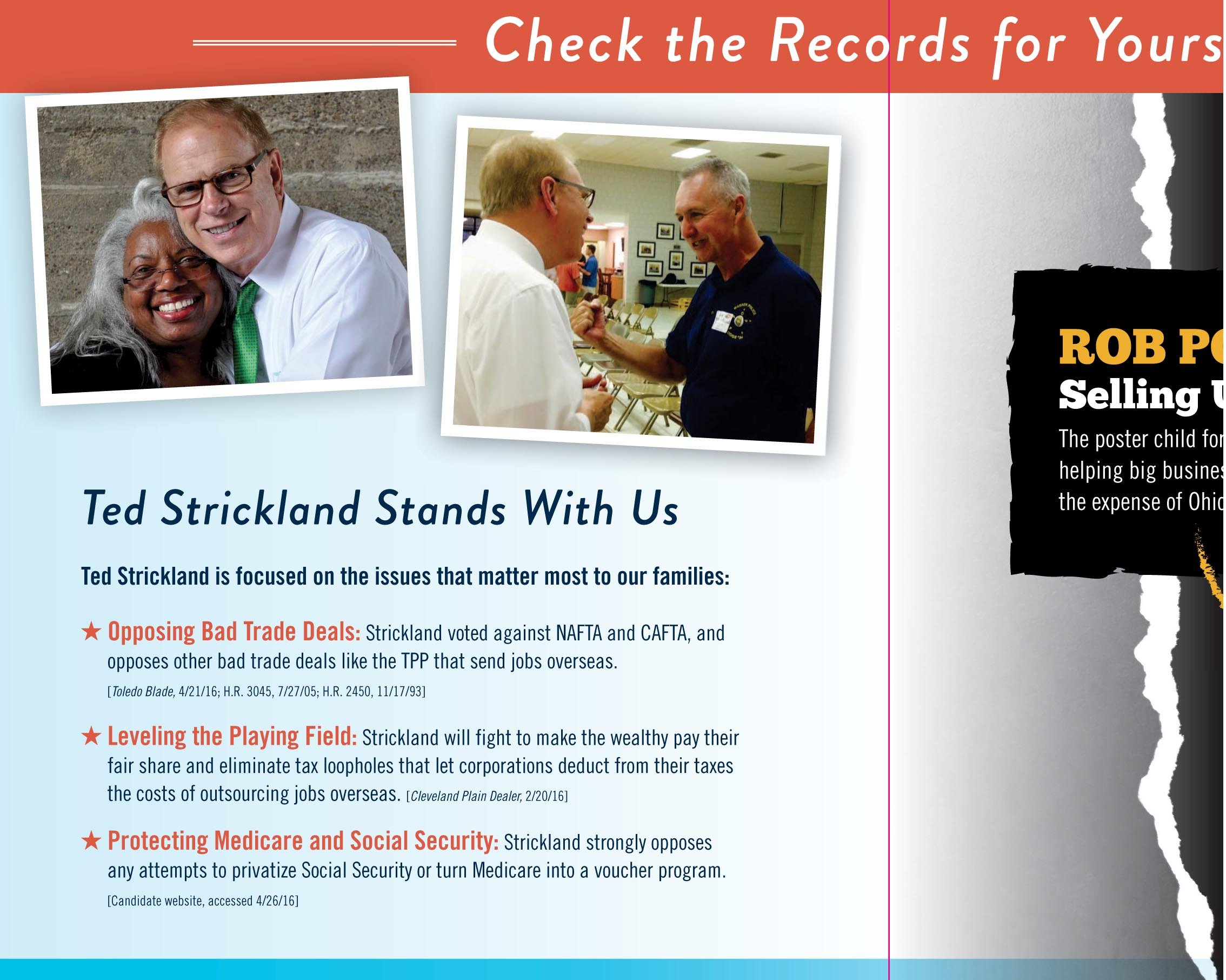 Direct Mail Piece Contrasting Candidates Calls Sen Rob Portman A Sell-out.