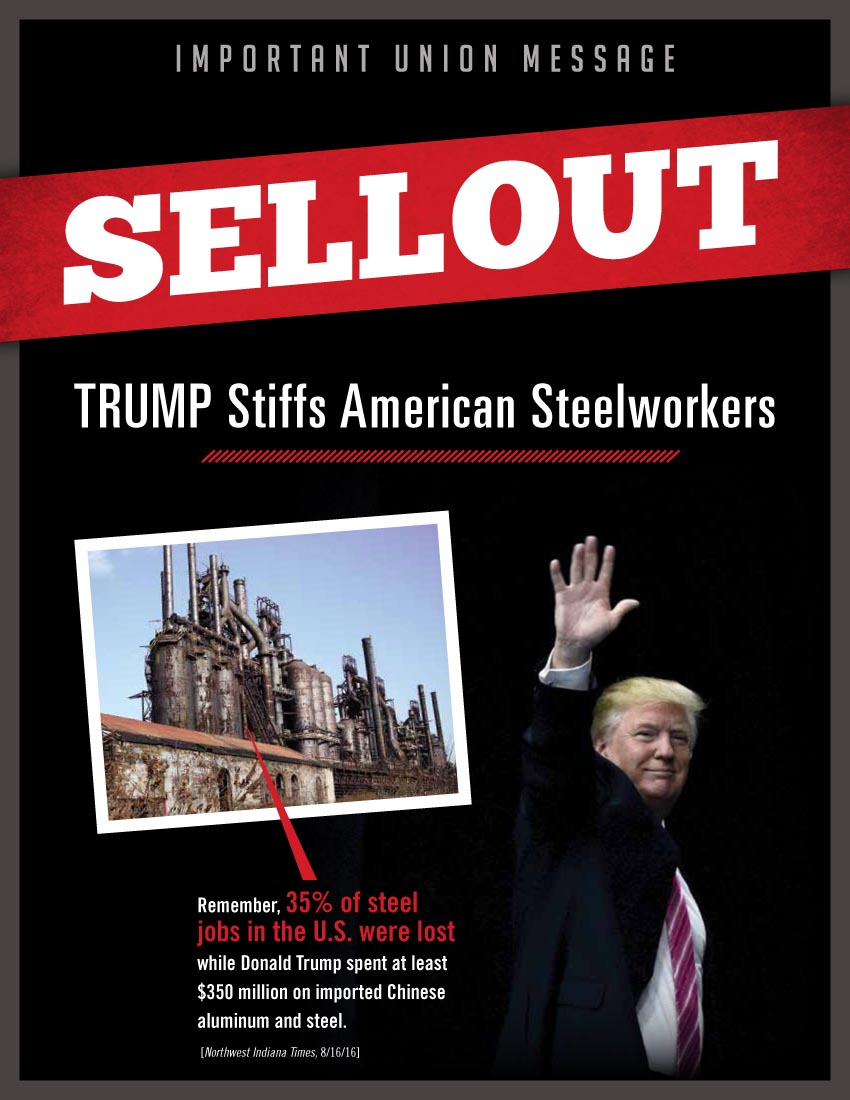 Donald Trump's Outsourcing And Profiteering From Predatory Pricing  Is Subject Of New AFL-CIO Mailer